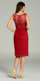 Knee Length Formal Dress Burgundy Lace Top Chiffon Skirt