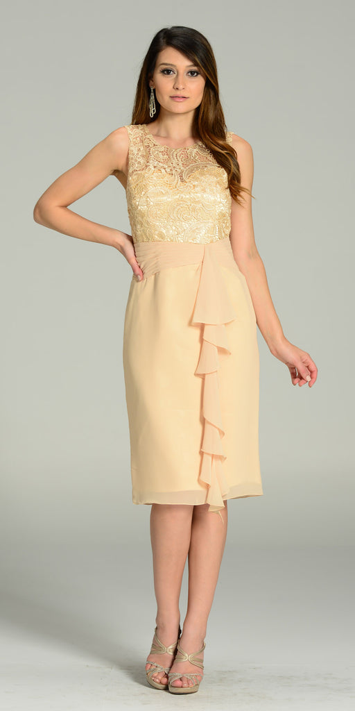 Knee Length Formal Dress Champagne Lace Top Chiffon Skirt