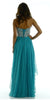 Layered Chiffon Skirt Lace Bodice Long Teal Formal Dress Strapless