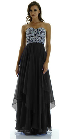 Layered Chiffon Skirt Lace Bodice Long Black Formal Dress Strapless