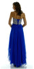 Layered Chiffon Skirt Lace Bodice Long Royal Blue Formal Dress Strapless