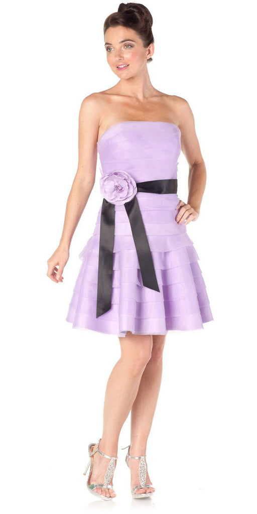 ON SPECIAL LIMITED STOCK - Lilac Short Bridesmaid Dress Pleated Strapless Rose Waist Black Ribbon