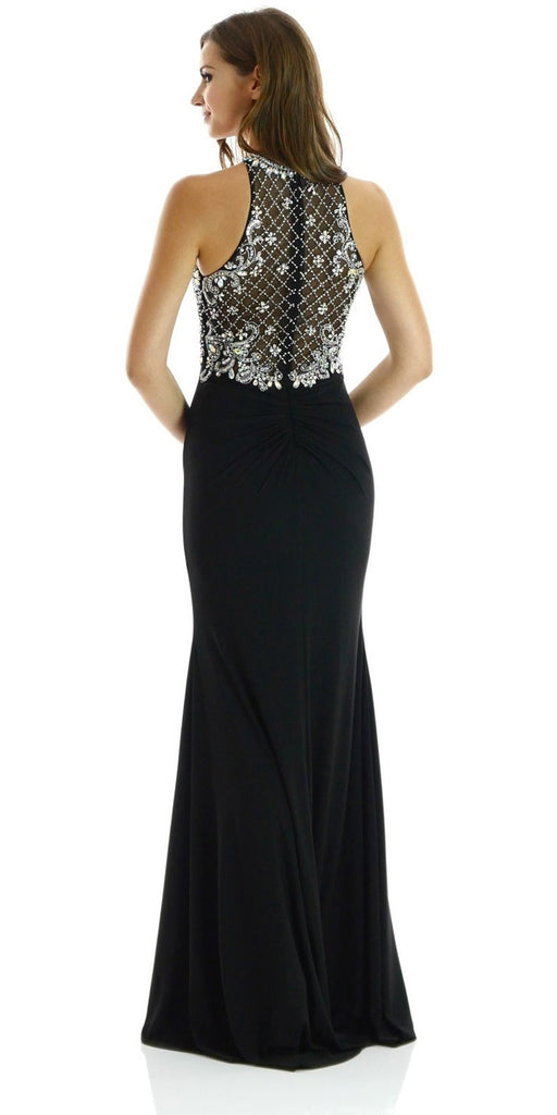 Long Beaded Black Formal Evening Gown High Neckline