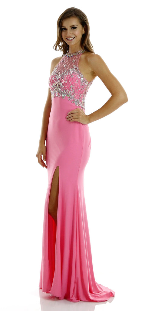 Long Beaded Pink Formal Evening Gown High Neckline