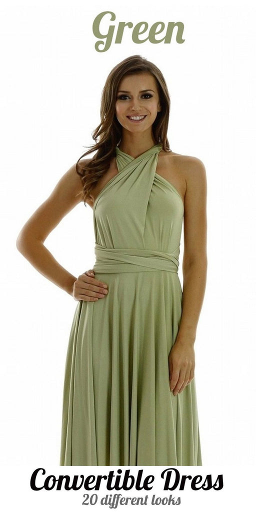 Poly USA 7022 - Long Green Convertible Jersey Dress 20 Different Looks