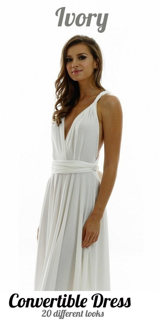 Poly USA 7022 - Long Ivory Convertible Jersey Dress 20 Different Looks