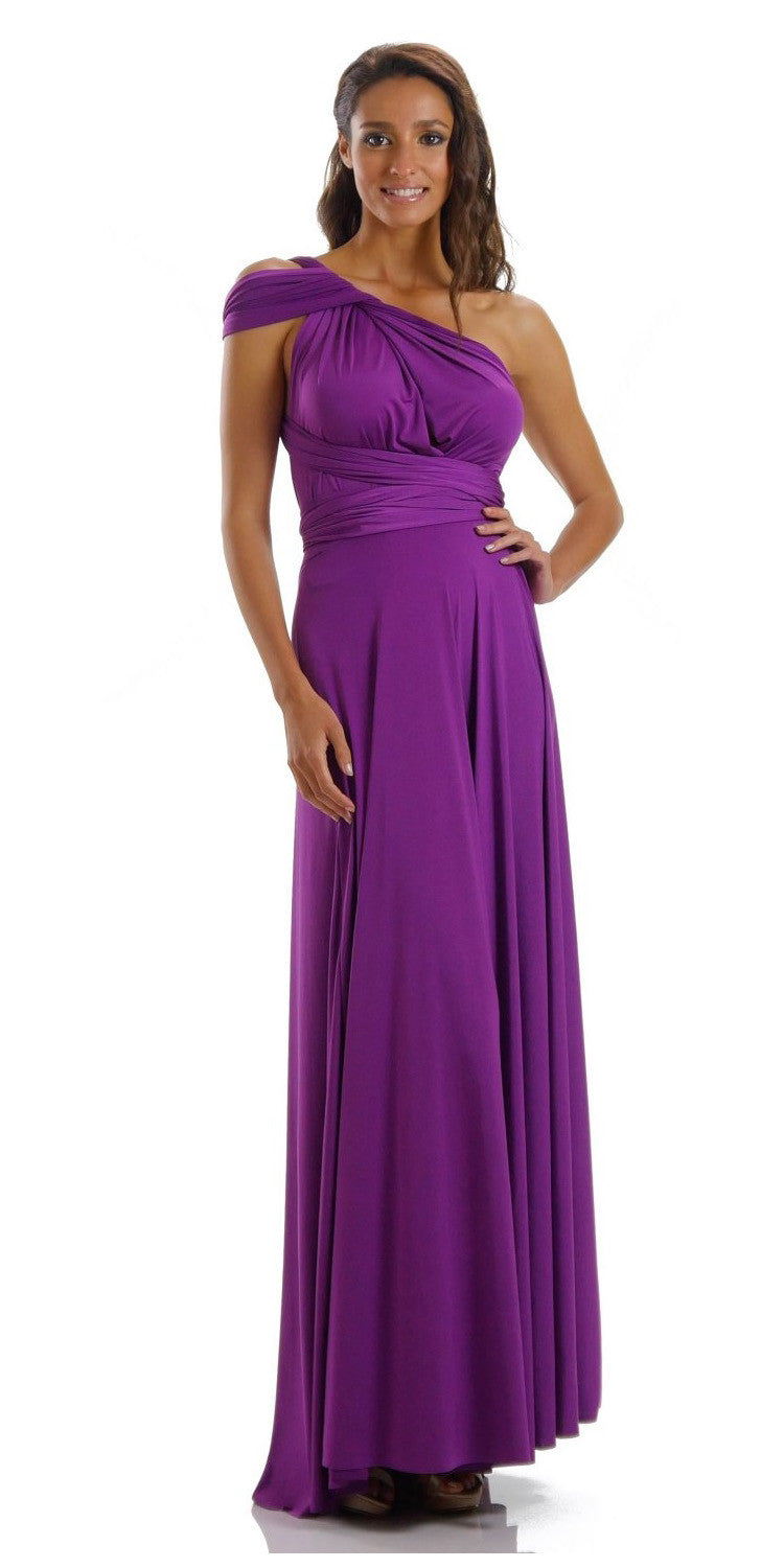 Long Magenta Convertible Jersey Dress 20 Different Looks