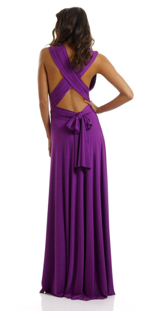 Poly USA 7022 - Long Magenta Convertible Jersey Dress 20 Different Looks