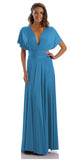Poly USA 7022 - Long Teal Convertible Jersey Dress 20 Different Looks