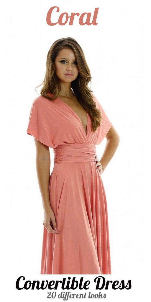 Poly USA 7022 - Long Coral Convertible Jersey Dress 20 Different Looks