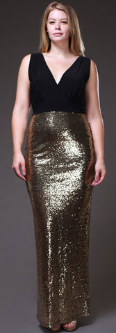 Long Black/Gold Sequins Dress V Neck Wide Straps Spandex