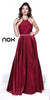Long Burgundy Prom Dress Beaded Sleeveless Halter