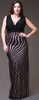 Long Black/Rose Semi Formal Dress V Neck Wide Straps Glitter