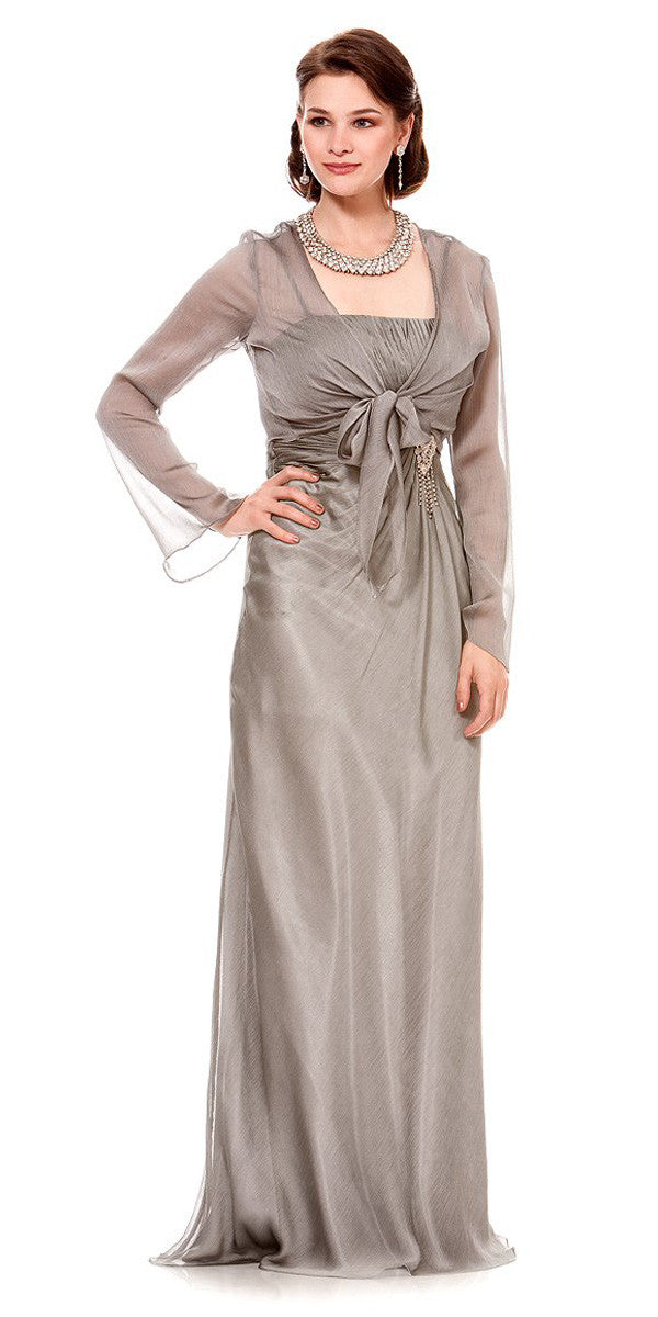 ON SPECIAL LIMITED STOCK - Long Plum Semi Formal Eveing Dresss Chiffon Overlay Long Jacket