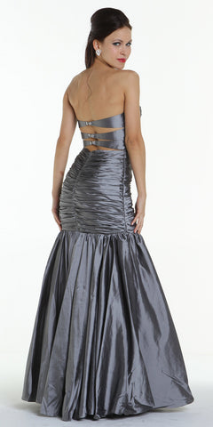ON SPECIAL LIMITED STOCK - Long Silver Mermaid Evening Gown Strapless Sweetheart Rhinestone