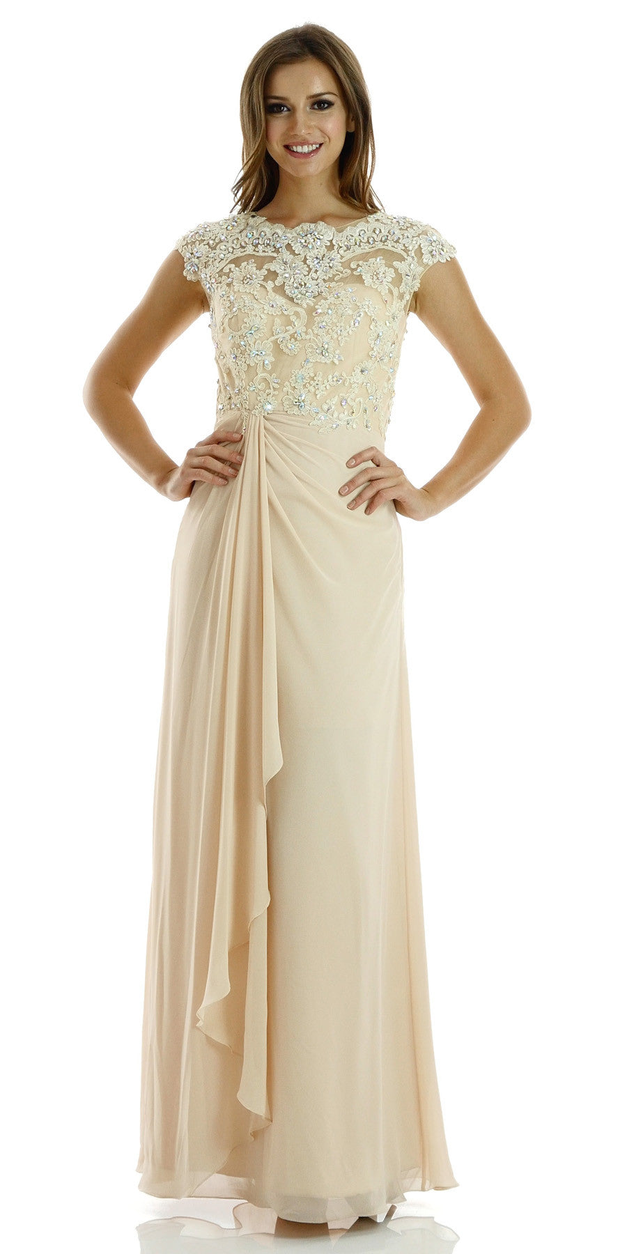 Cap-sleeved Long Chiffon Mermaid Gown with Lace Bodice