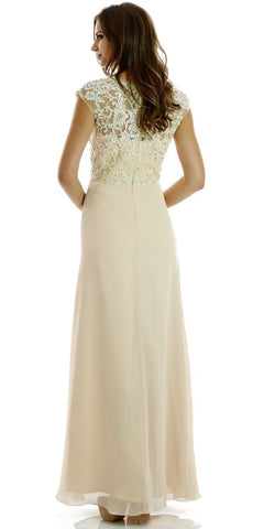 Long Chiffon Formal Cap Sleeve Dress Champagne Lace Bodice