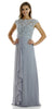 Long Chiffon Formal Cap Sleeve Dress Gray Lace Bodice