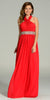 Long Chiffon Formal Column Gown Red Halter Rhinestone Waist