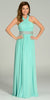 Long Chiffon Formal Column Gown Mint Halter Rhinestone Waist