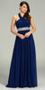 Long Chiffon Formal Column Gown Navy Blue Halter Rhinestone Waist