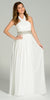 Long Chiffon Formal Column Gown Off White Halter Rhinestone Waist