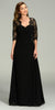 Long Chiffon/Lace Dress Black Length Lace Sleeves