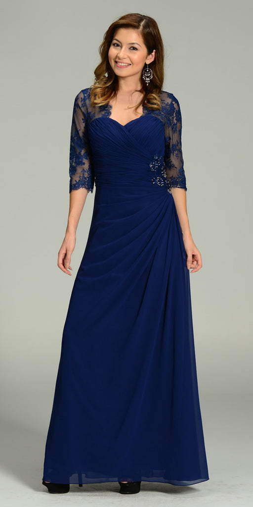 Long Chiffon/Lace Dress Navy Blue Mid Length Lace Sleeves