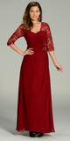 Long Chiffon/Lace Dress Burgundy Mid Length Lace Sleeves