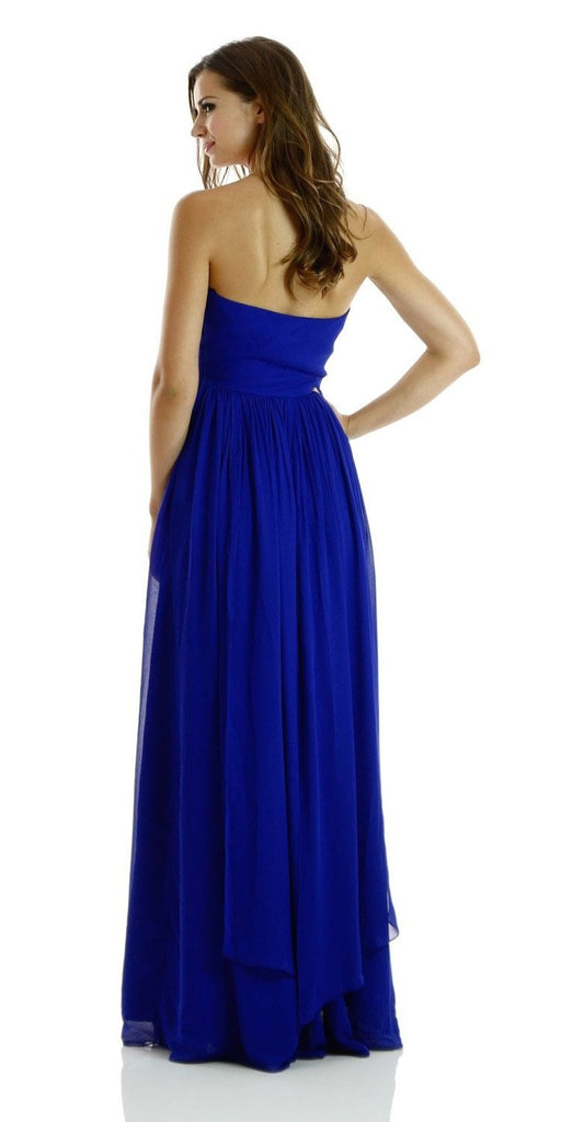 Poly USA 7156 - Long Convertible Chiffon Dress Royal Blue 10 Different Looks Back View