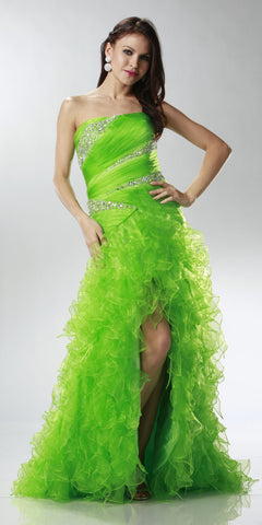 ON SPECIAL LIMITED STOCK - Long Lime Green Special Occasion Dress Strapless Shiny Organza Layered