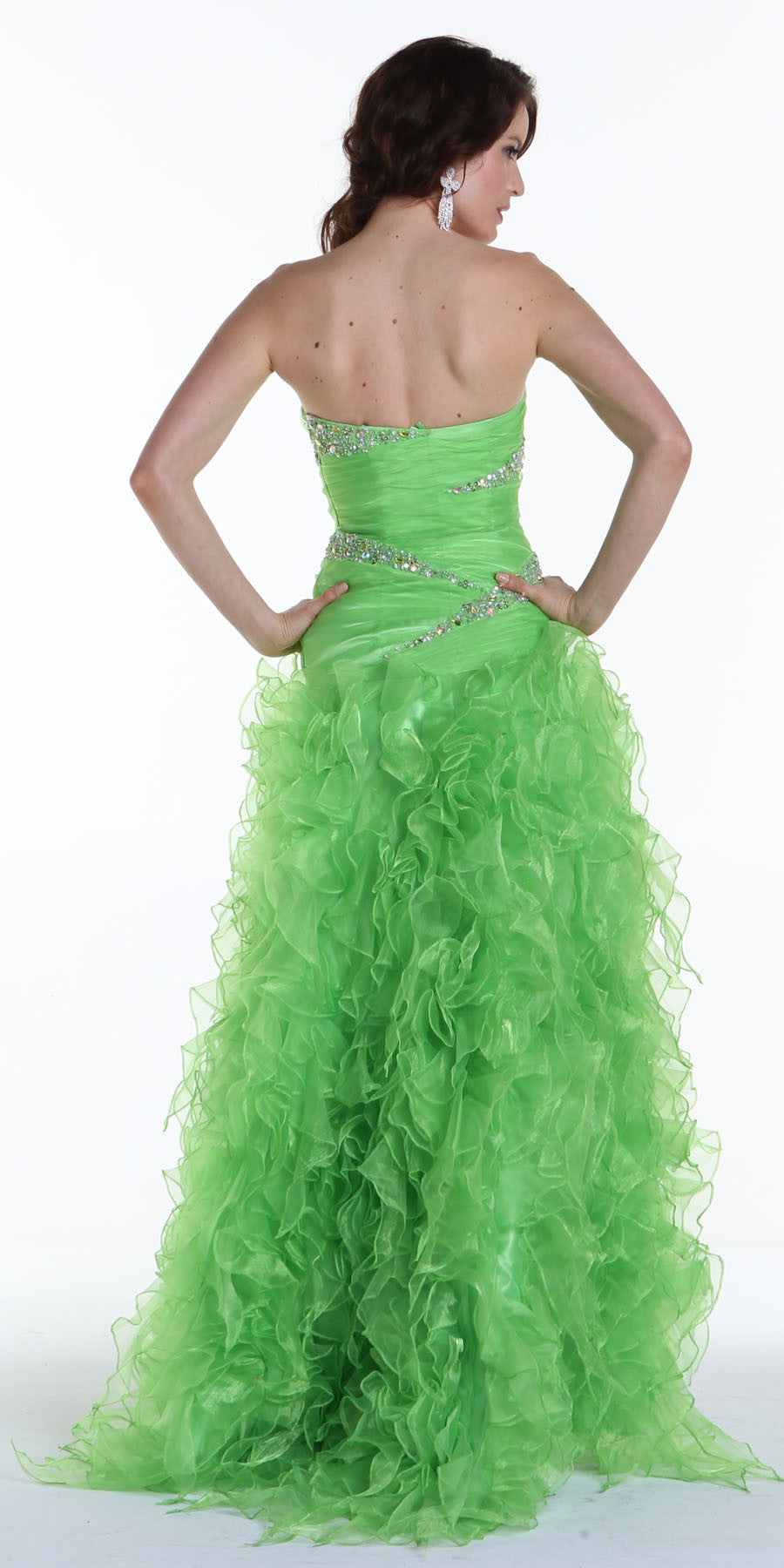 ON SPECIAL LIMITED STOCK - Long Green Special Occasion Dress Strapless Shiny Organza Layered