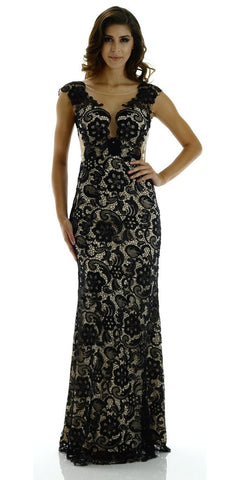 ON SPECIAL LIMITED STOCK - Long Elegant Black/Nude Lace Dress Illusion Neckline Cap Sleeves