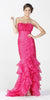 ON SPECIAL LIMITED STOCK - Long Exotic Gala Party Fuchsia Dress Trumpet Ruffle Layers Ruched