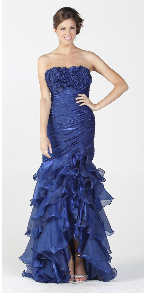 ON SPECIAL LIMITED STOCK - Long Exotic Gala Party Royal Blue Dress Trumpet Ruffle Layers Ruched