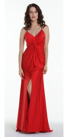 ON SPECIAL LIMITED STOCK - Long Fitted Stretch Red Semi Formal Dress Spaghetti Straps Low Back