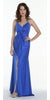 ON SPECIAL LIMITED STOCK - Long Fitted Stretch Royal Blue Semi Formal Dress Spaghetti Straps Low Back