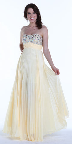 ON SPECIAL LIMITED STOCK - Long Flowy Prom Dress Champagne Chiffon Pleated Skirt Accordian Strapless