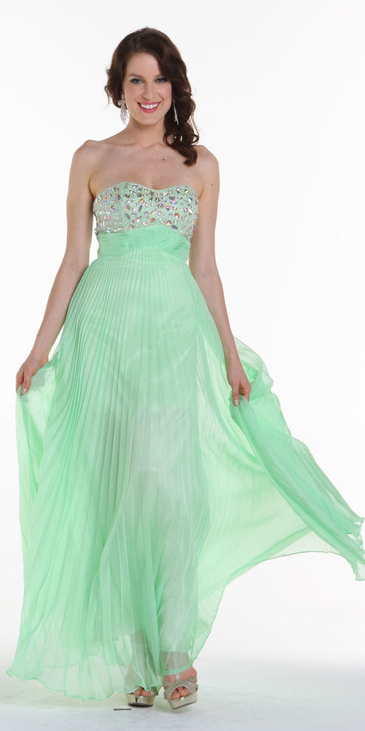 ON SPECIAL LIMITED STOCK - Long Flowy Prom Dress Mint Green Chiffon Pleated Skirt Accordian Strapless