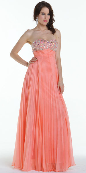 ON SPECIAL LIMITED STOCK - Long Flowy Prom Dress Coral Chiffon Pleated Skirt Accordian Strapless