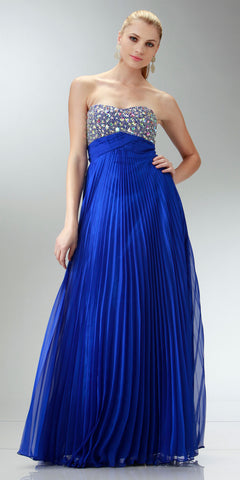 ON SPECIAL LIMITED STOCK - Long Flowy Prom Dress Royal Blue Chiffon Pleated Skirt Accordian Strapless