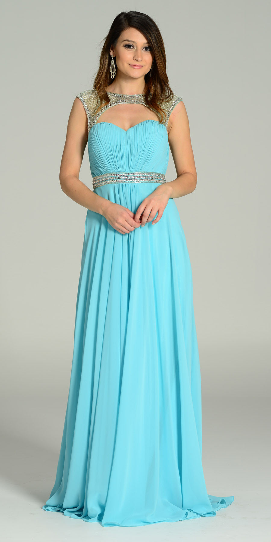 Long Formal Chiffon Floor Length Gown Aqua Cap Sleeves
