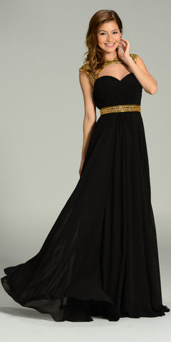 Long Formal Chiffon Floor Length Gown Black Gold Cap Sleeves