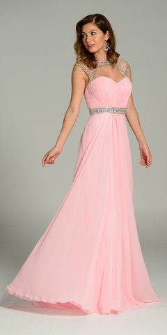 Long Formal Chiffon Floor Length Gown Pink Cap Sleeves