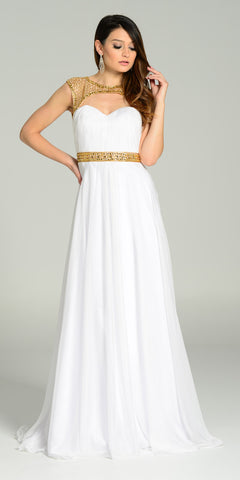 White Beaded Top Long Prom Dress with Cut-Out Back