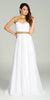 Long Formal Chiffon Floor Length Gown White Gold Cap Sleeves