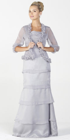 ON SPECIAL LIMITED STOCK - Long Modest Formal Dress Gray Ruffles Bolero Jacket Layered Skirt