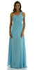 Long One Shoulder Chiffon Semi Formal Dress Aqua One Shoulder