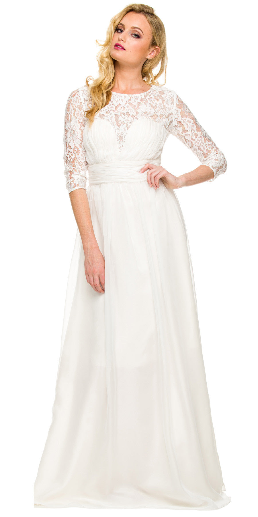 Long Plus Size Silver Semi Formal Gown Lace Mid Sleeves ...
