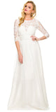 Long Plus Size Ivory Semi Formal Gown Lace Mid Sleeves